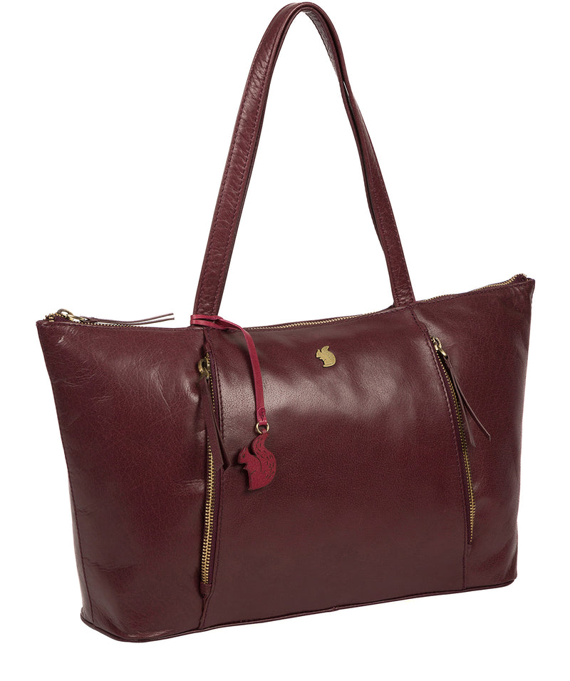 'Clover' Plum Leather Tote Bag image 5