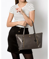 'Clover' Slate Leather Tote Bag image 2