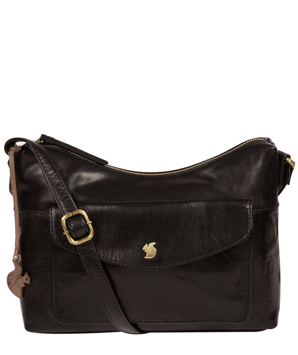 'Alana' Black Leather Shoulder Bag Pure Luxuries London