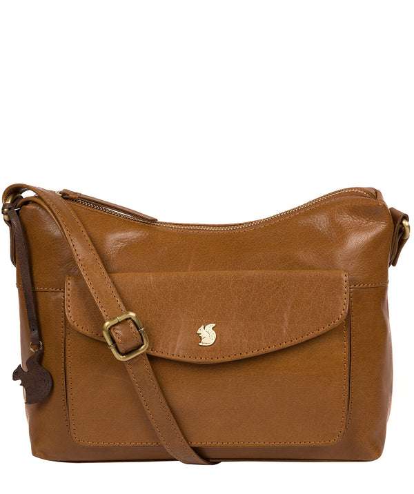 'Alana' Dark Tan Leather Shoulder Bag image 1