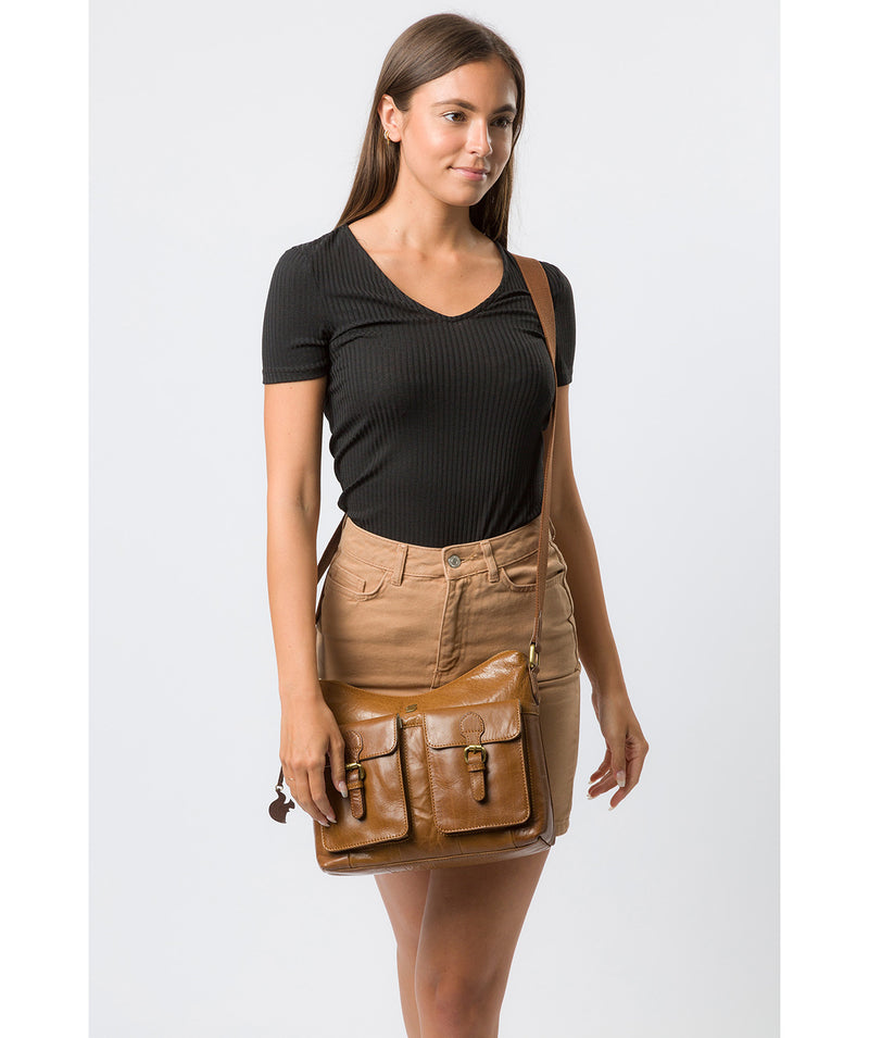 'Nancie' Dark Tan Leather Shoulder Bag image 2