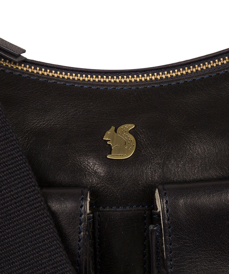'Nancie' Navy Leather Shoulder Bag image 6