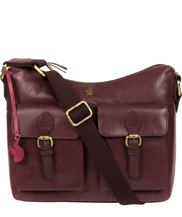 'Nancie' Plum Leather Shoulder Bag image 1