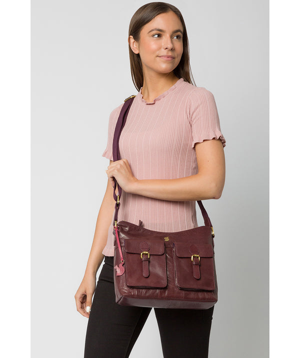 'Nancie' Plum Leather Shoulder Bag image 2