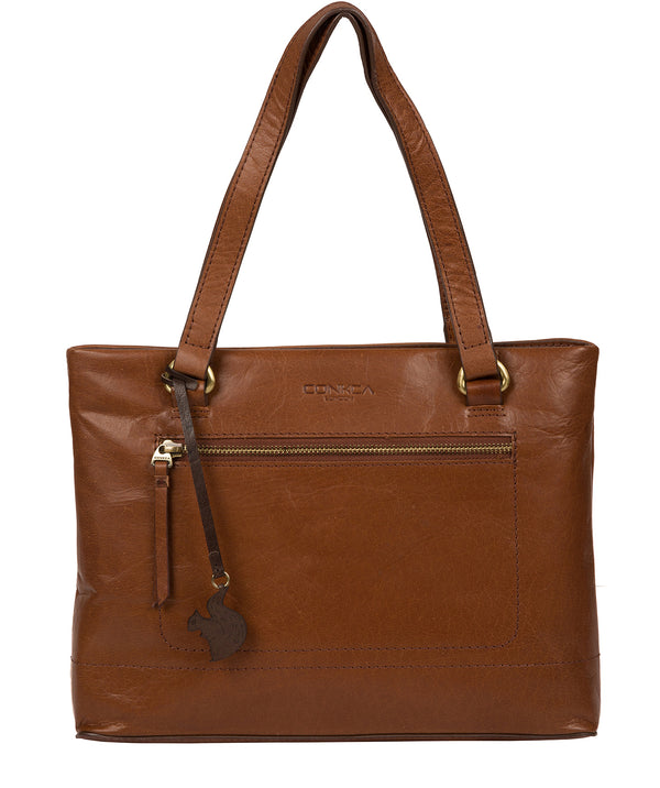 'Alice' Conker Brown Leather Handbag image 1