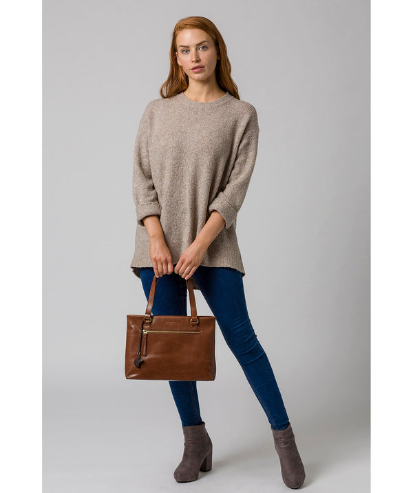 'Alice' Conker Brown Leather Handbag image 2