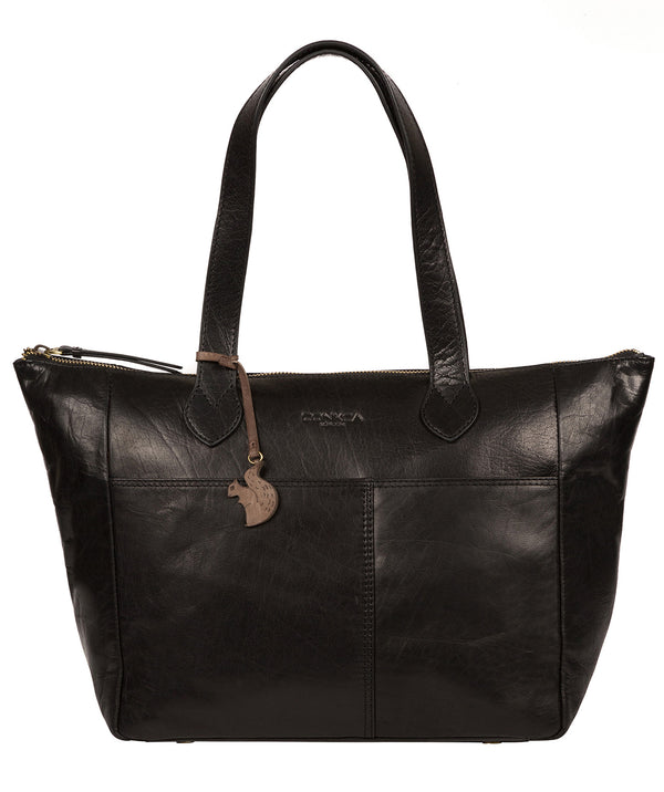 'Harp' Black Leather Tote Bag image 1