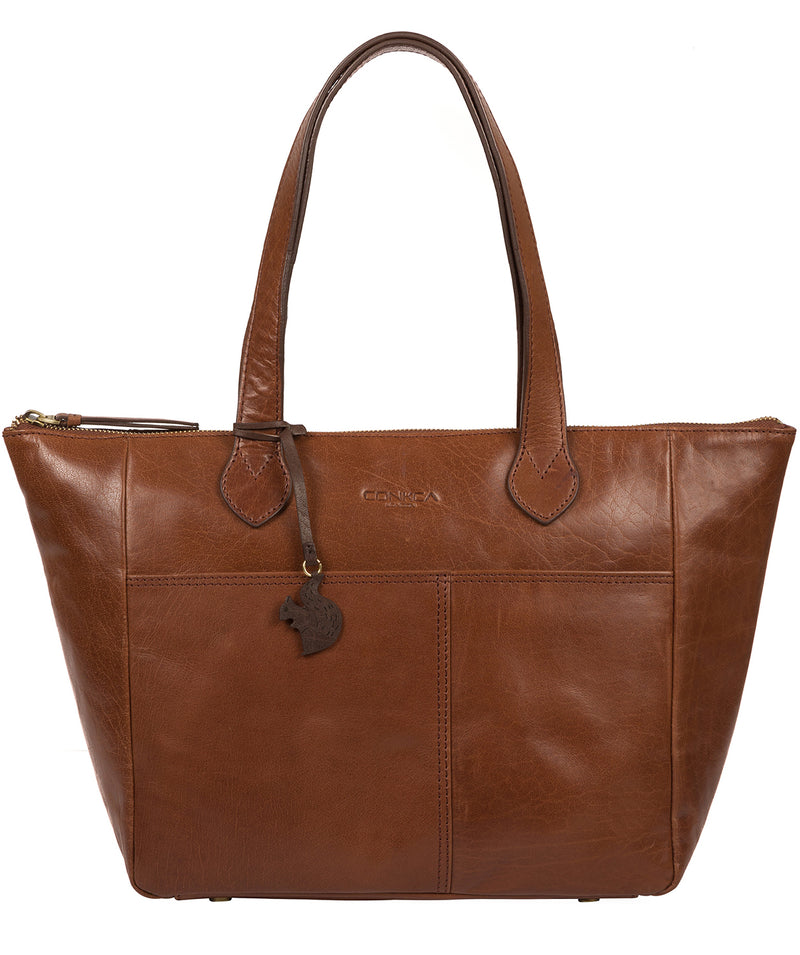 'Harp' Conker Brown Leather Tote Bag image 1