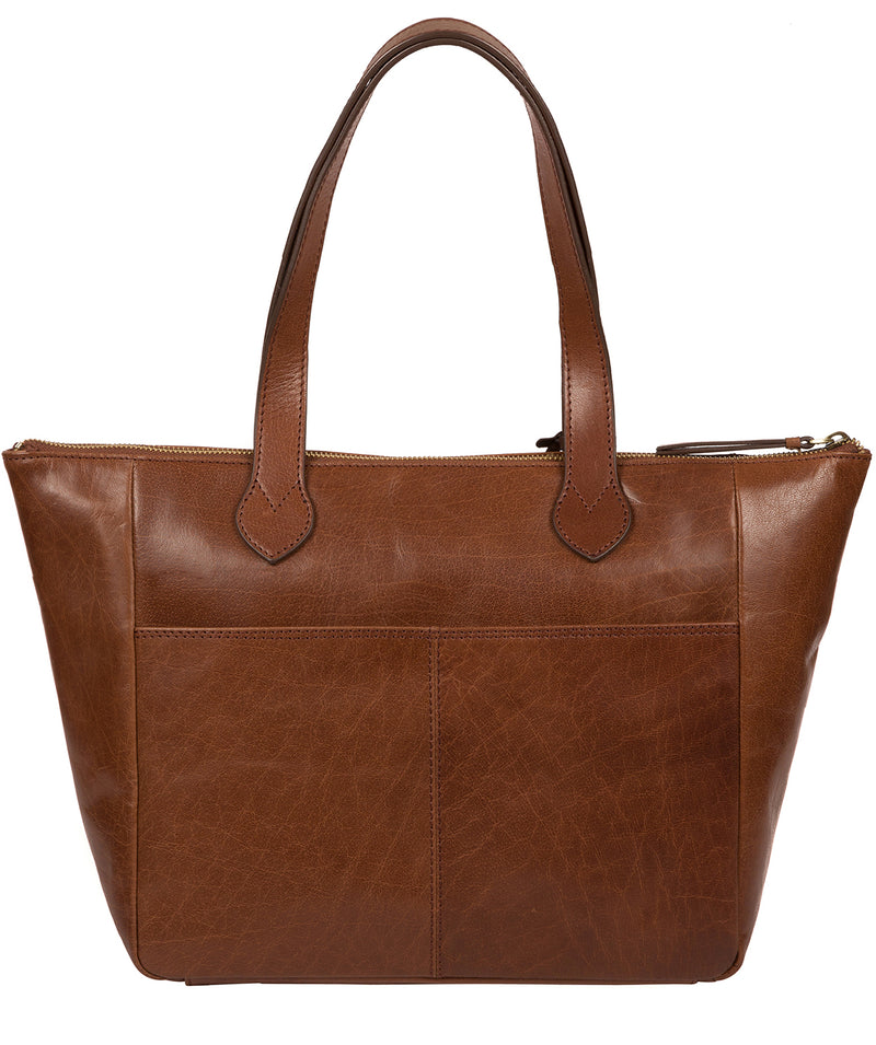 'Harp' Conker Brown Leather Tote Bag image 3