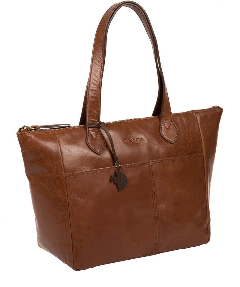 'Harp' Conker Brown Leather Tote Bag image 5