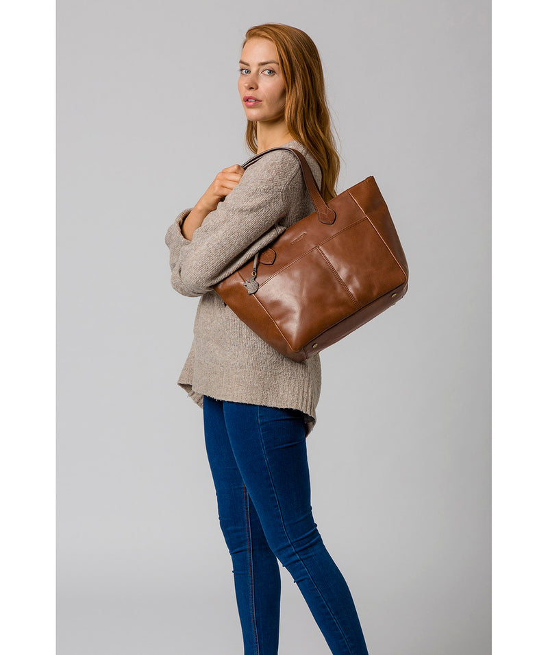 'Harp' Conker Brown Leather Tote Bag image 2