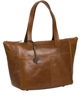 'Harp' Dark Tan Leather Tote Bag Pure Luxuries London