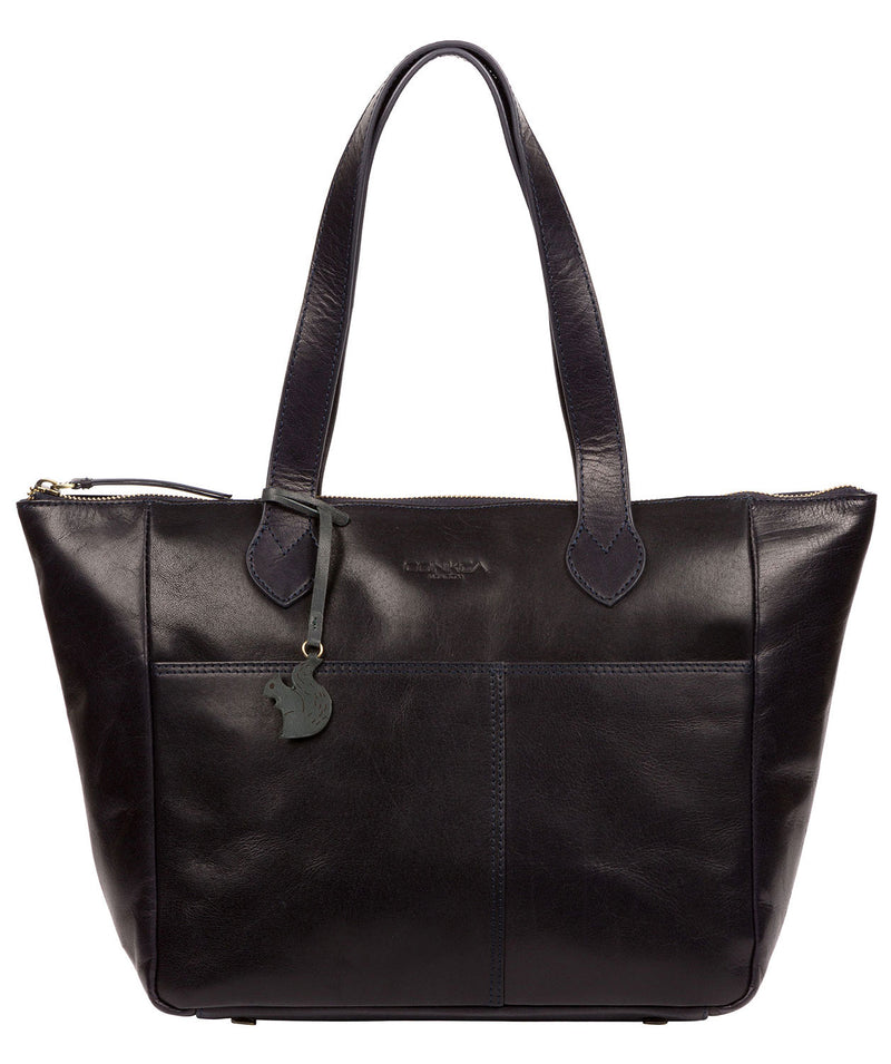 'Harp' Navy Leather Tote Bag