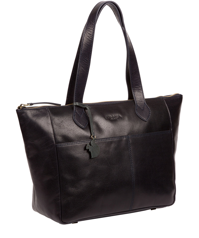 'Harp' Navy Leather Tote Bag Pure Luxuries London