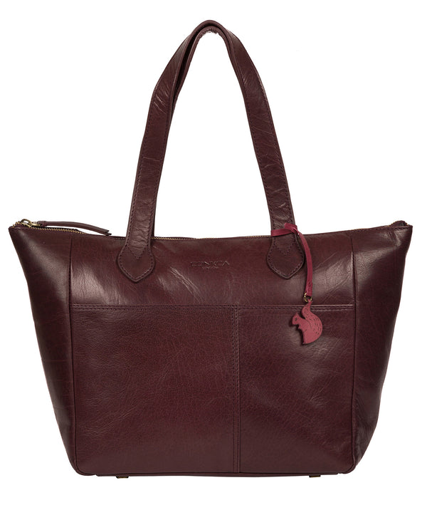 'Harp' Plum Leather Tote Bag image 1