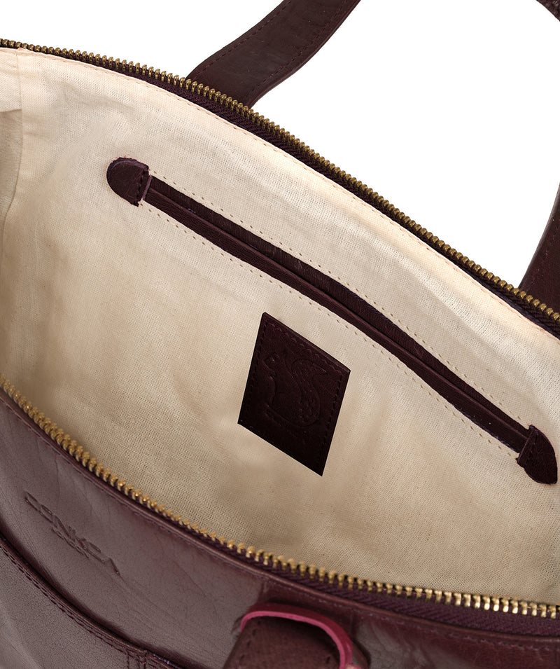 'Harp' Plum Leather Tote Bag image 4