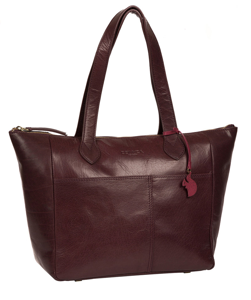 'Harp' Plum Leather Tote Bag image 5