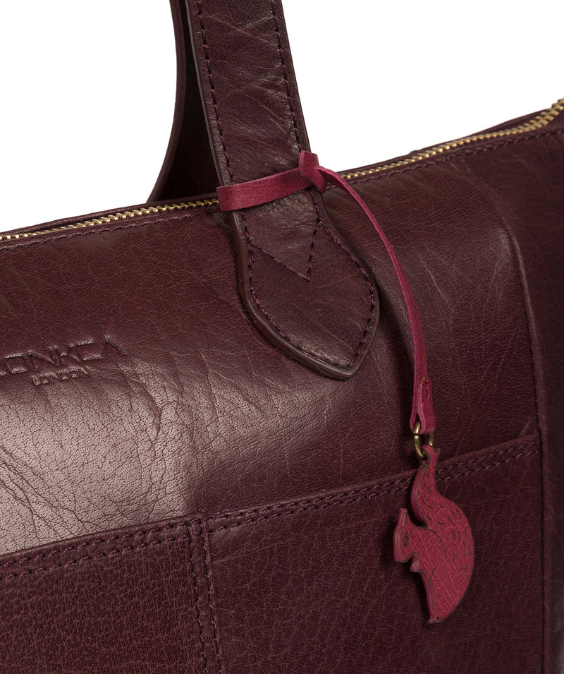'Harp' Plum Leather Tote Bag image 6