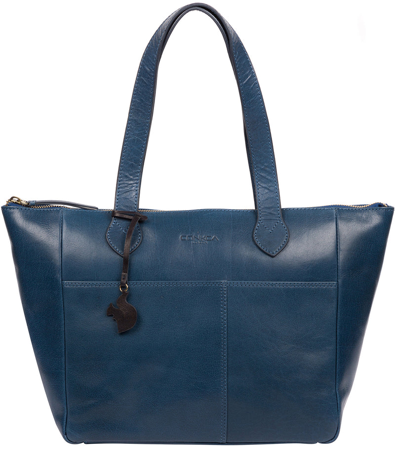 'Harp' Snorkel Blue Leather Tote Bag image 1