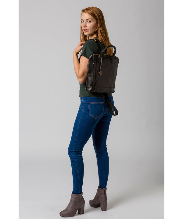 'Camille' Black Leather Backpack image 2
