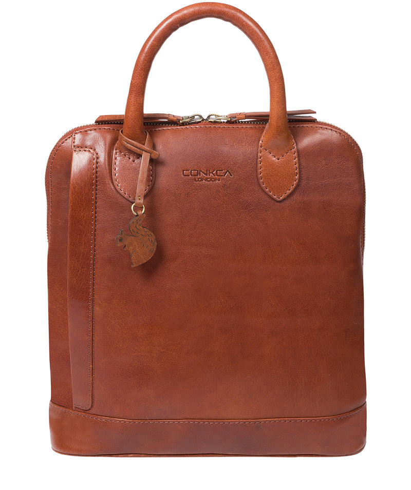 'Camille' Conker Brown Leather Backpack