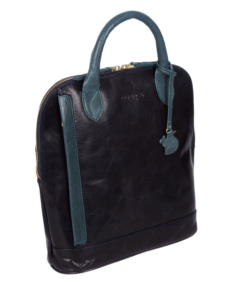 'Camille' Navy & Denim Leather Backpack