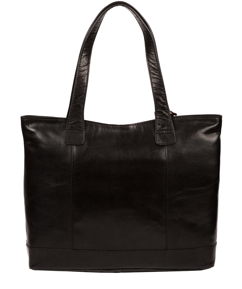 'Patience' Black Leather Tote Bag image 3