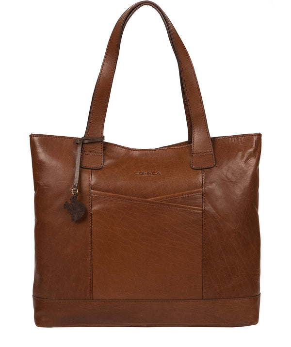 'Patience' Conker Brown Leather Tote Bag Pure Luxuries London