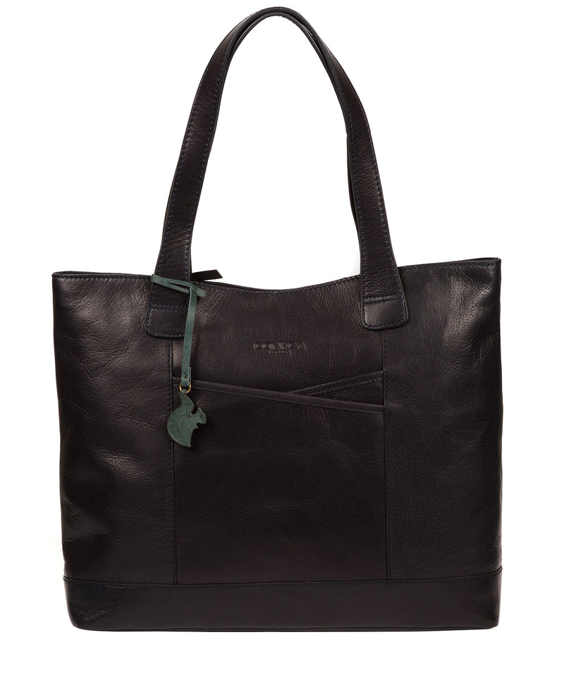 'Patience' Navy Leather Tote Bag image 1