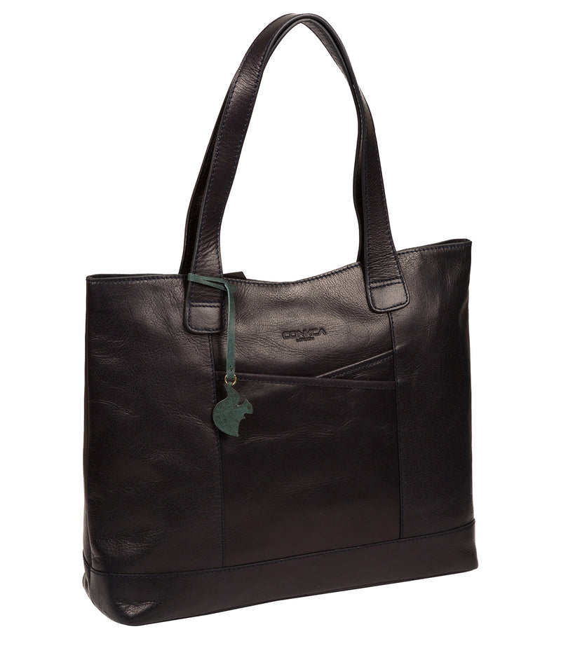 'Patience' Navy Leather Tote Bag image 5