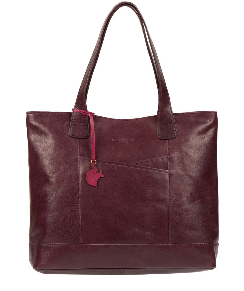 'Patience' Plum Leather Tote Bag image 1