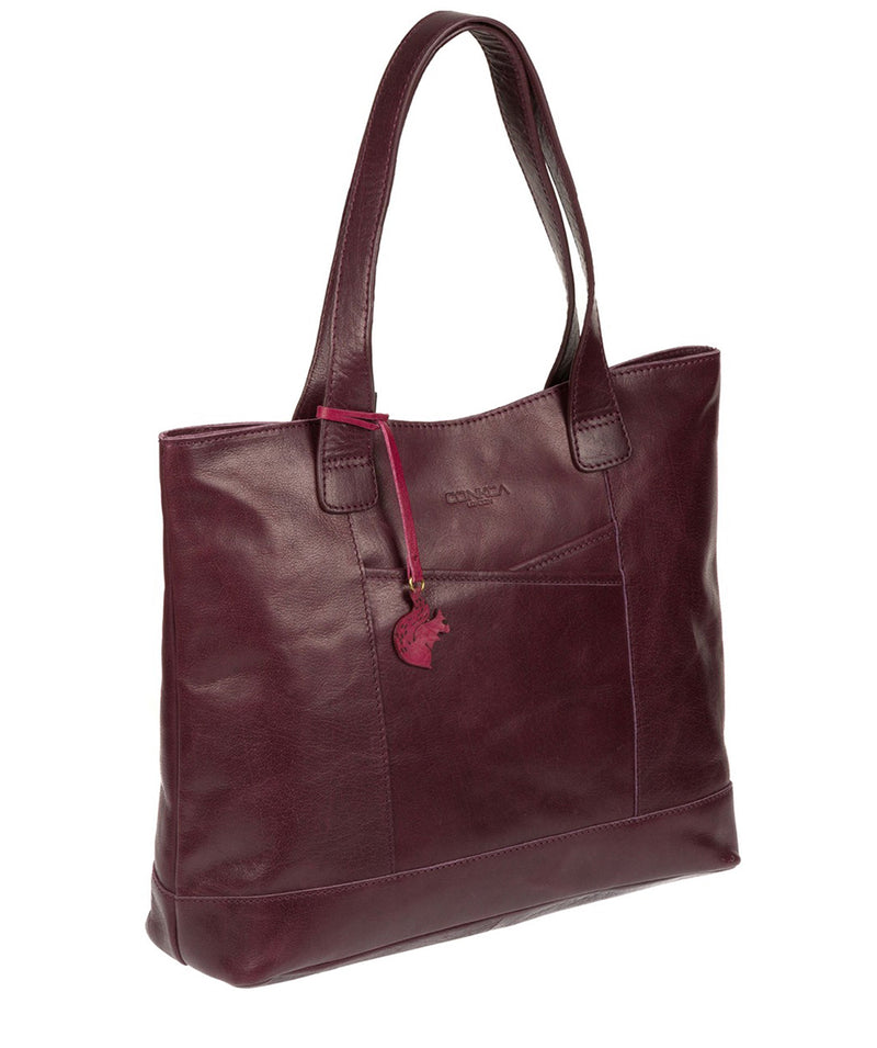 'Patience' Plum Leather Tote Bag image 5