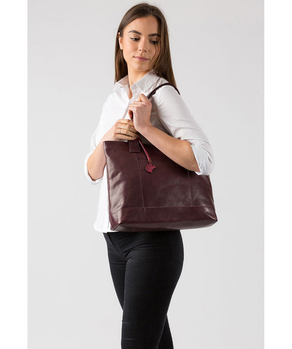 'Patience' Plum Leather Tote Bag image 2