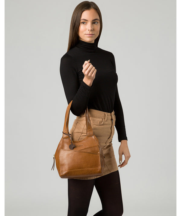 'Juliet' Dark Tan Leather Handbag Pure Luxuries London