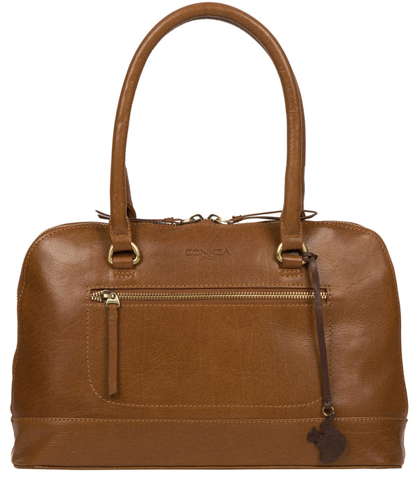 'Bailey' Dark Tan Leather Handbag image 1