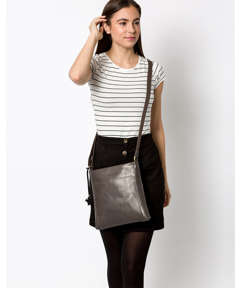 'Dink' Slate Leather Cross Body Bag Pure Luxuries London