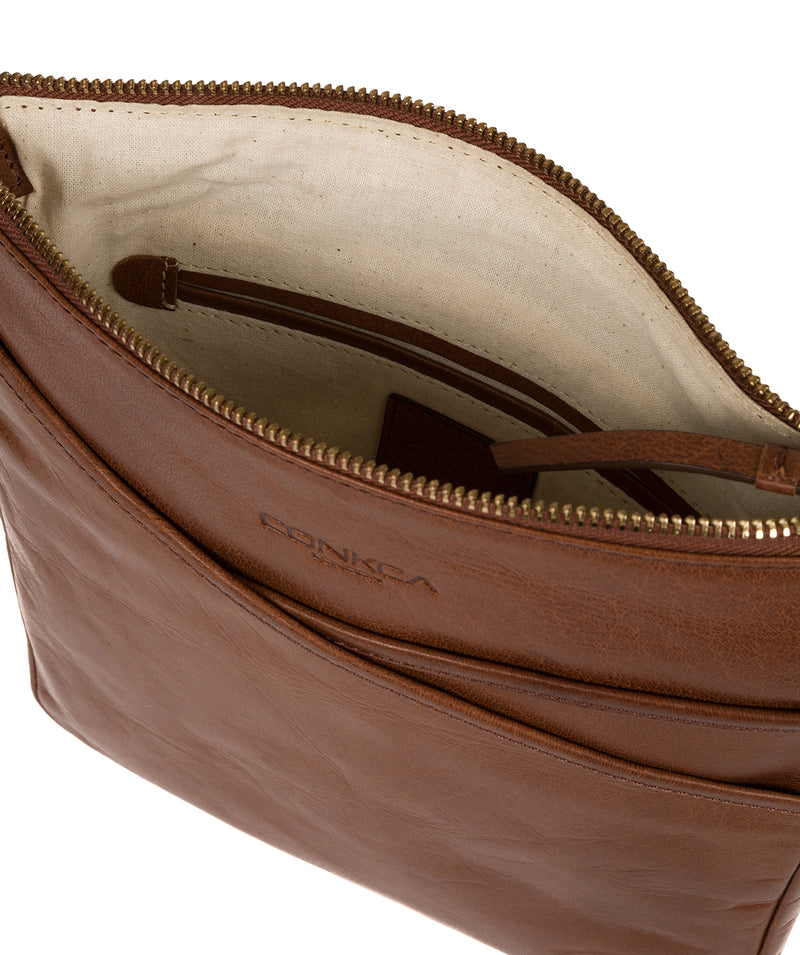'Avril' Conker Brown Leather Cross Body Bag image 4