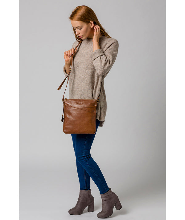 'Avril' Conker Brown Leather Cross Body Bag image 2