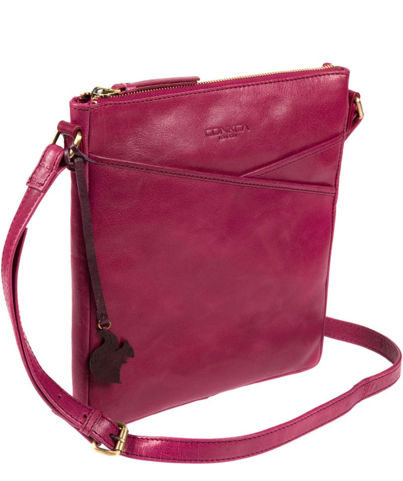 'Avril' Orchid Leather Cross Body Bag