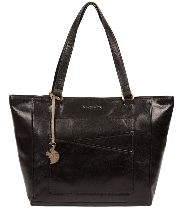 'Monique' Black Leather Tote Bag image 1