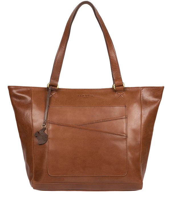 'Monique' Conker Brown Leather Tote Bag image 1