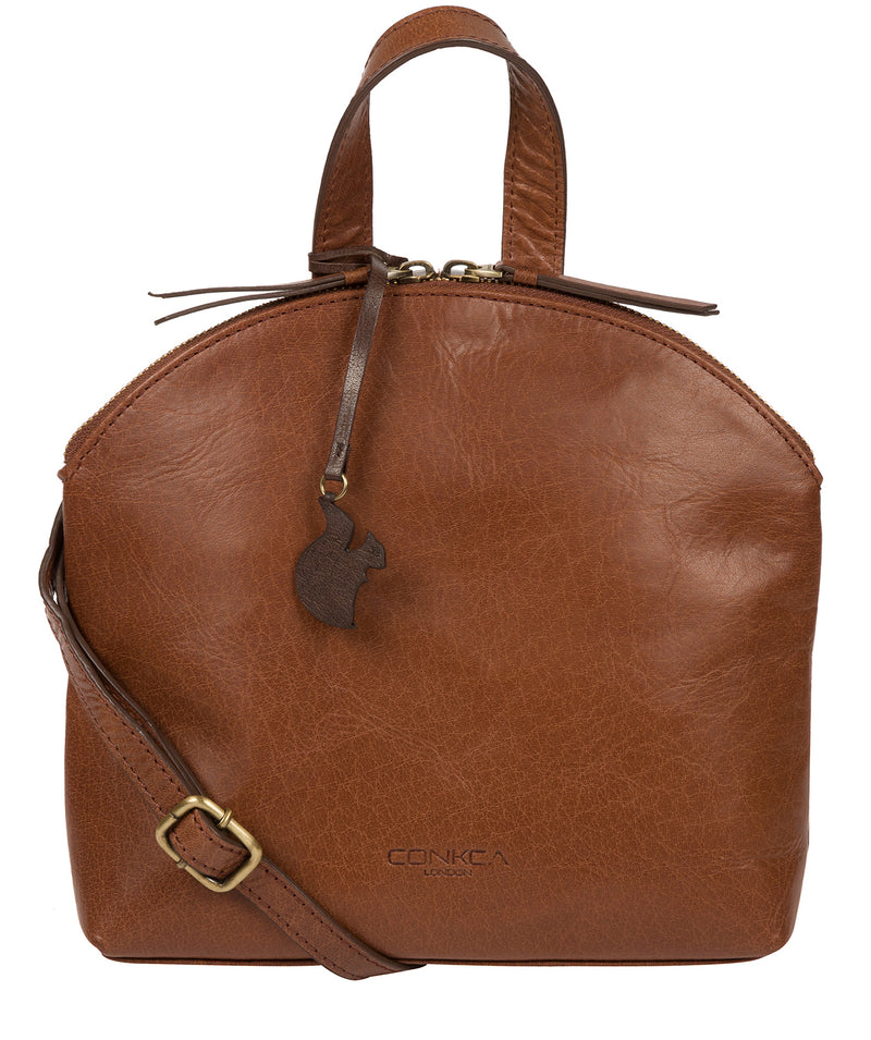 'Ingrid' Conker Brown Leather Cross Body Bag image 1