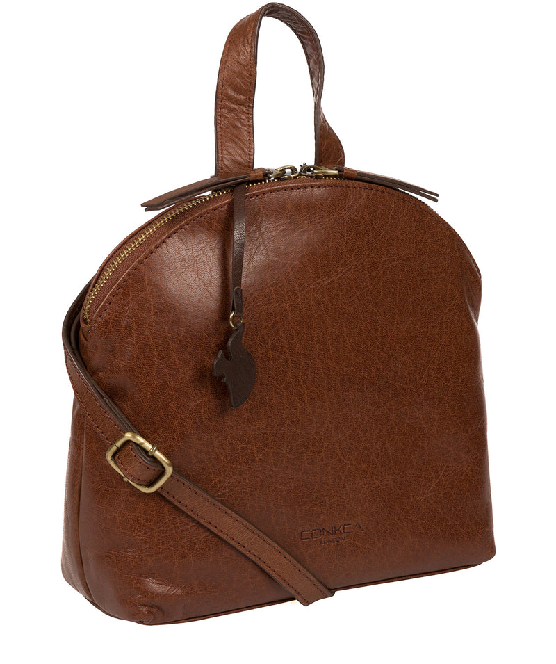 'Ingrid' Conker Brown Leather Cross Body Bag image 5