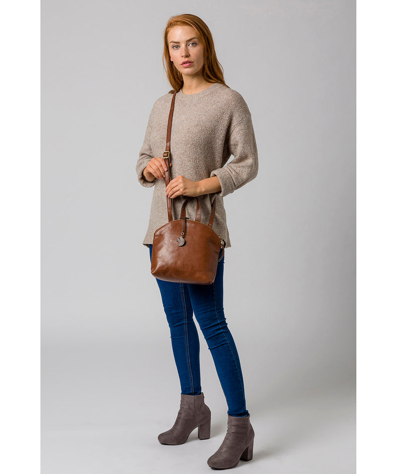 'Ingrid' Conker Brown Leather Cross Body Bag image 2
