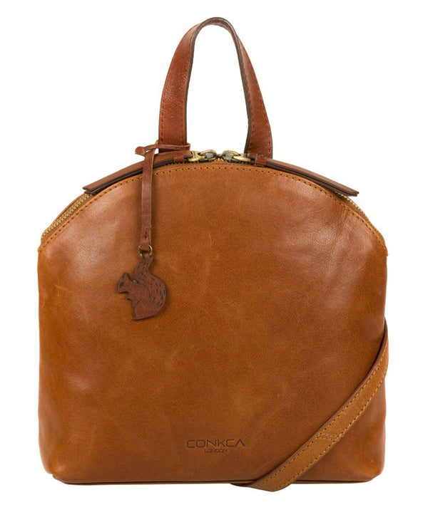'Ingrid' Dark Tan & Conker Brown Leather Cross Body Bag