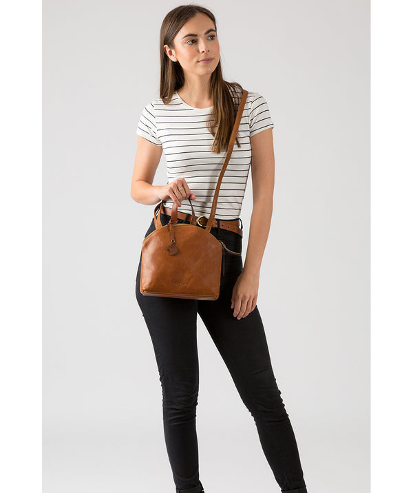 'Ingrid' Dark Tan & Conker Brown Leather Cross Body Bag image 2