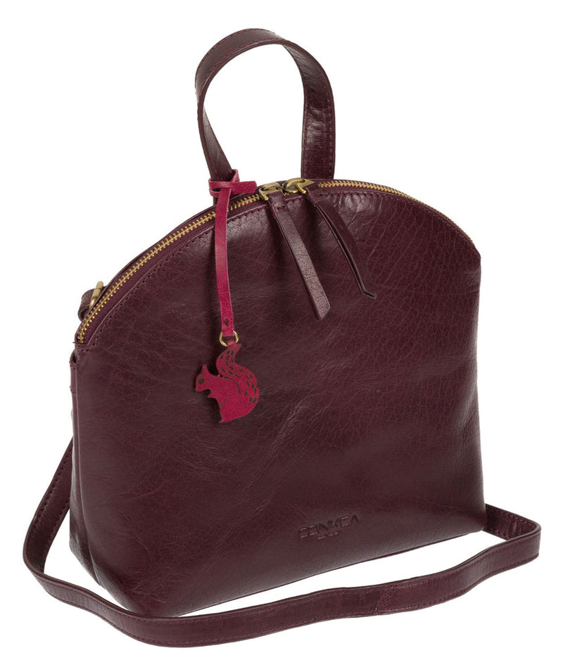 'Ingrid' Plum Leather Cross Body Bag