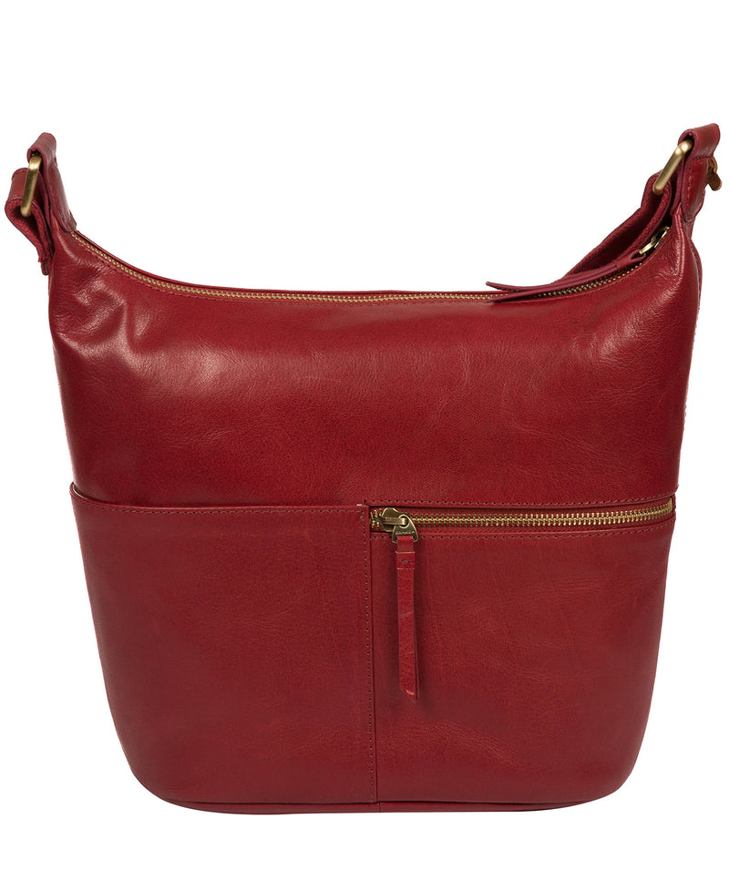'Kristin' Chilli Pepper Leather Shoulder Bag image 3
