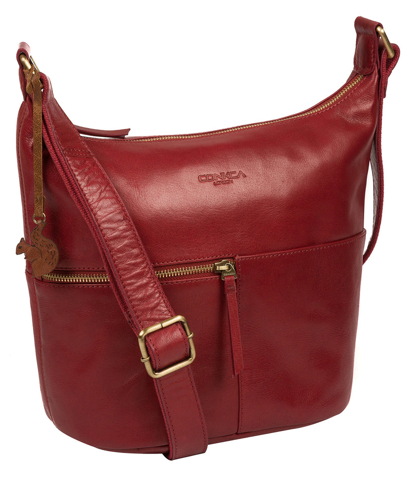 'Kristin' Chilli Pepper Leather Shoulder Bag image 5