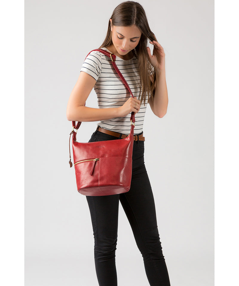 'Kristin' Chilli Pepper Leather Shoulder Bag image 2